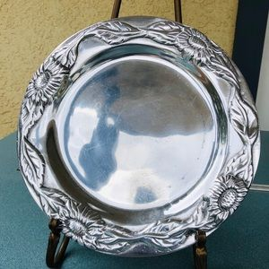 Vintage Pewter Sunflower Plate 1990s Made in Mex